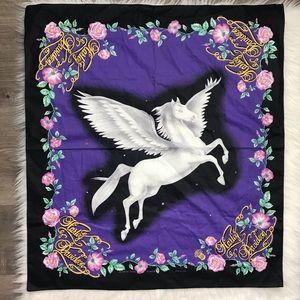 Harley Davidson Unicorn Print Black Purple Bandana